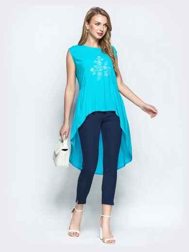 Бирюзовая блузка с авторской вышивкой и шлейфом - 22191, фото 1 – интернет-магазин Dressa