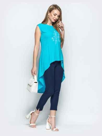 Бирюзовая блузка с авторской вышивкой и шлейфом - 22191, фото 2 – интернет-магазин Dressa
