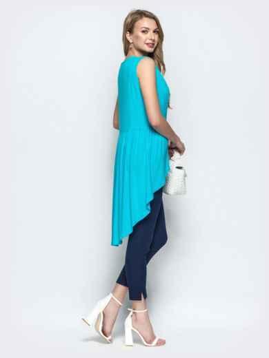 Бирюзовая блузка с авторской вышивкой и шлейфом - 22191, фото 3 – интернет-магазин Dressa
