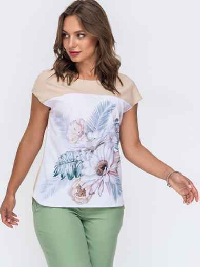 Блузка из софта свободного силуэта бежевая 50035, фото 1