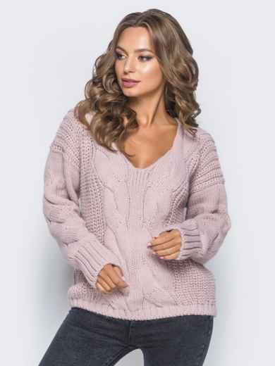 Джемпер пудрового цвета с объемными рукавами - 17035, фото 2 – интернет-магазин Dressa