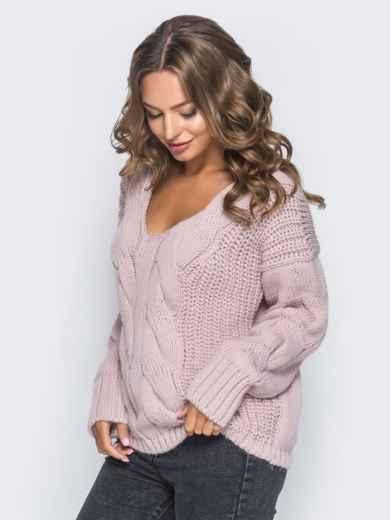 Джемпер пудрового цвета с объемными рукавами - 17035, фото 3 – интернет-магазин Dressa