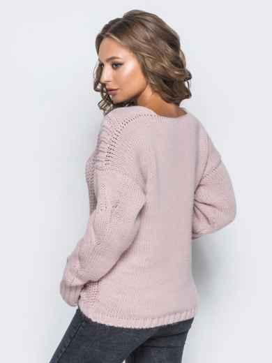 Джемпер пудрового цвета с объемными рукавами - 17035, фото 4 – интернет-магазин Dressa