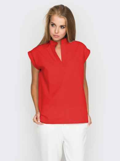 Хлопковая блузка прямого кроя красная - 38731, фото 2 – интернет-магазин Dressa