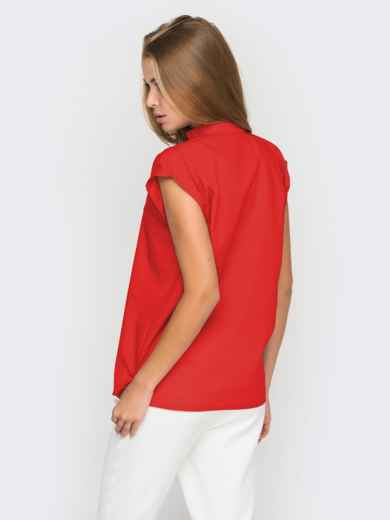 Хлопковая блузка прямого кроя красная - 38731, фото 3 – интернет-магазин Dressa