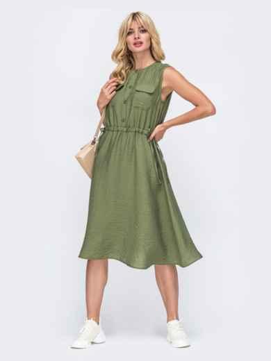 Платье без рукавов цвета хаки с нагрудными карманами 50034, фото 1