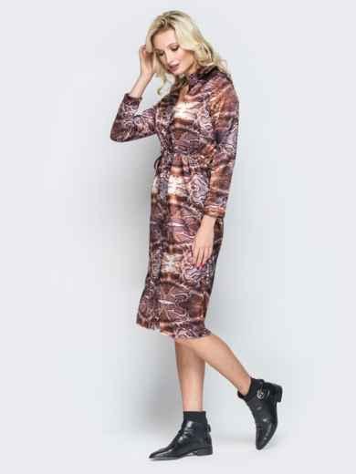 Принтованное платье-рубашка с кулиской на талии - 19665, фото 2 – интернет-магазин Dressa