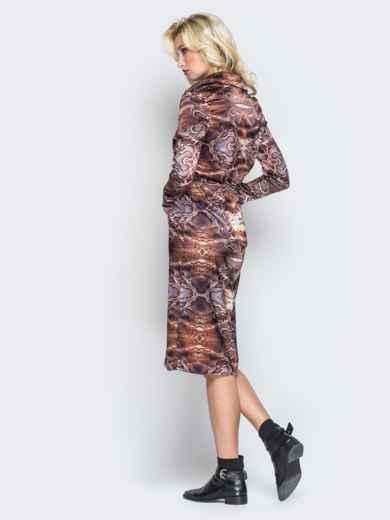 Принтованное платье-рубашка с кулиской на талии - 19665, фото 3 – интернет-магазин Dressa