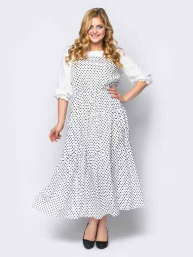 Расклешённое платье батал в горох белое 53599, фото 1