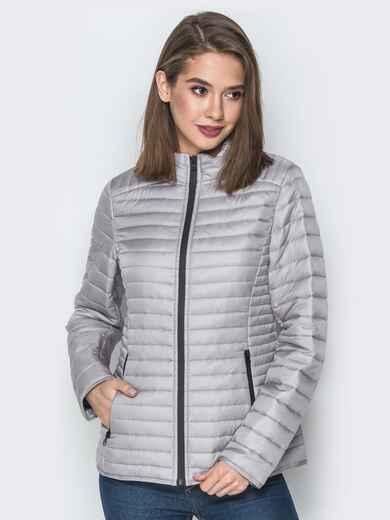 Серая куртка с воротником-стойкой и карманами 20290, фото 1