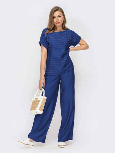 Синий костюм с блузкой в полоску и широкими штанами 54315, фото 1