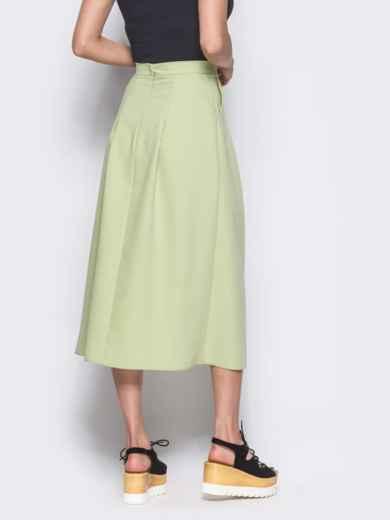 Зеленая юбка-миди на запах из костюмной ткани - 12169, фото 2 – интернет-магазин Dressa