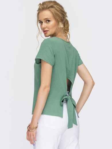 Бирюзовая блузка с коротким рукавом и вырезом по спинке 54342, фото 1