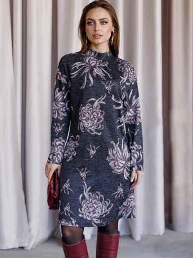 Черное платье с принтом со спущенным плечом и воротником-стойкой 52856, фото 1