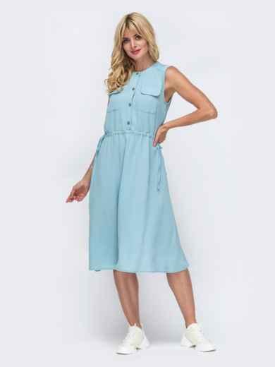 Голубое платье без рукавов с нагрудными карманами 50071, фото 2