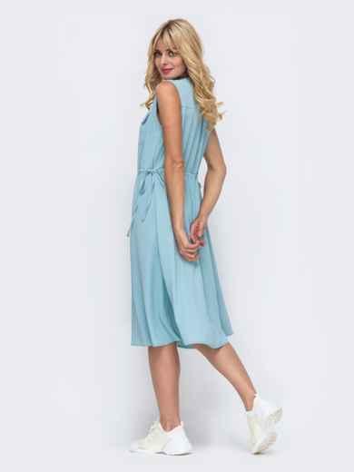 Голубое платье без рукавов с нагрудными карманами 50071, фото 3