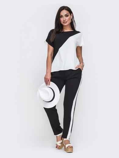 Комплект большого размера из блузки и брюк чёрный 49580, фото 1