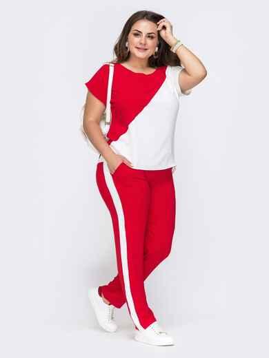 Комплект большого размера из блузки и брюк красный 49581, фото 1