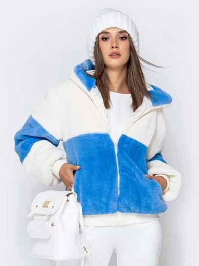 Короткая шуба с вшитым капюшоном голубая - 40184, фото 2 – интернет-магазин Dressa