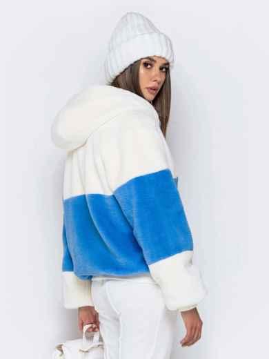 Короткая шуба с вшитым капюшоном голубая - 40184, фото 4 – интернет-магазин Dressa