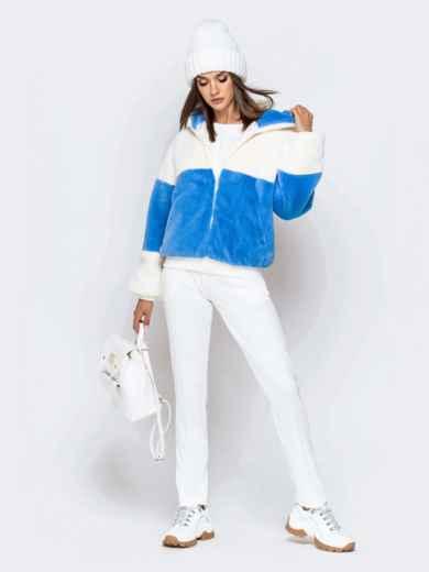 Короткая шуба с вшитым капюшоном голубая - 40184, фото 5 – интернет-магазин Dressa