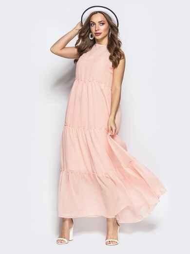 Многоярусное платье-макси с завышеной талией пудровое - 22323, фото 1 – интернет-магазин Dressa