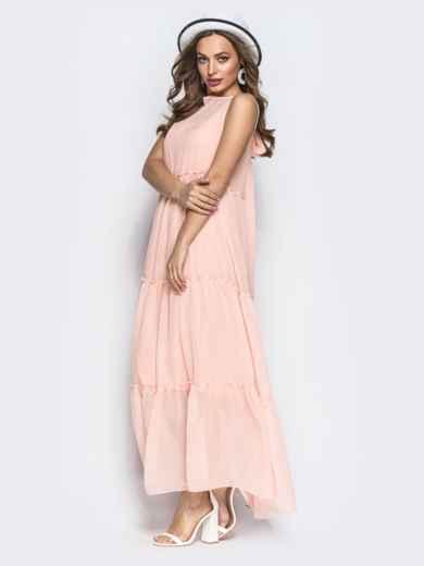 Многоярусное платье-макси с завышеной талией пудровое - 22323, фото 2 – интернет-магазин Dressa
