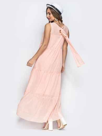 45abce1e1f9 Многоярусное платье-макси с завышеной талией пудровое 22323 – купить ...