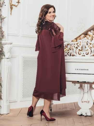 Шифоновое платье с пайетками по кокетке бордовое 43203, фото 2