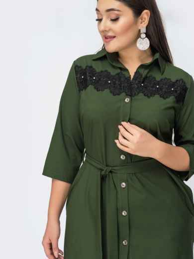 Платье-рубашка большого размера цвета хаки 44589, фото 2