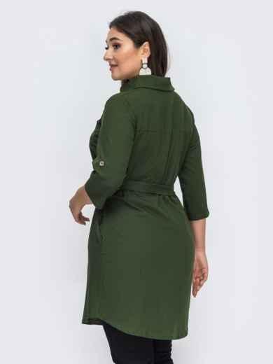Платье-рубашка большого размера цвета хаки 44589, фото 3