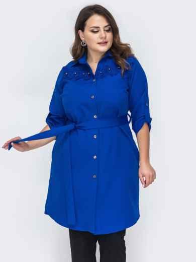 Платье-рубашка большого размера синего цвета 44588, фото 1