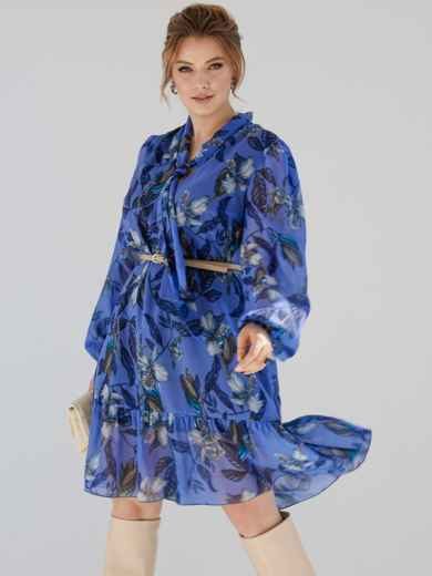 Платье-трапеция батал с принтом и воротником-аскот голубое 53360, фото 1