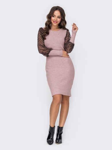 Пудровое платье из трикотажа с фатиновыми рукавами 52653, фото 1