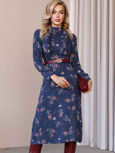 Синя сукня з рюшами на поличці і спідницею-трапецією 52859, фото 1