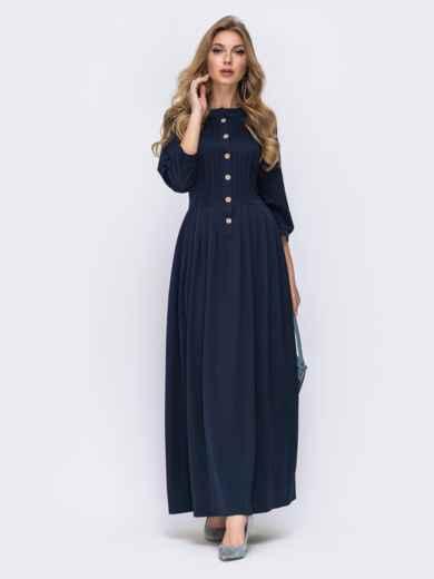 Тёмно-синее платье приталенного кроя с расклешенной юбкой 42081, фото 1