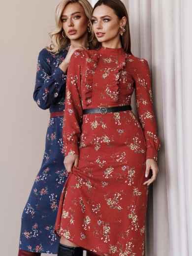 Теракотова сукня з рюшами на поличці і спідницею-трапецією 52860, фото 1