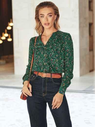 Зеленая блузка с принтом и длинным рукавом 55123, фото 1