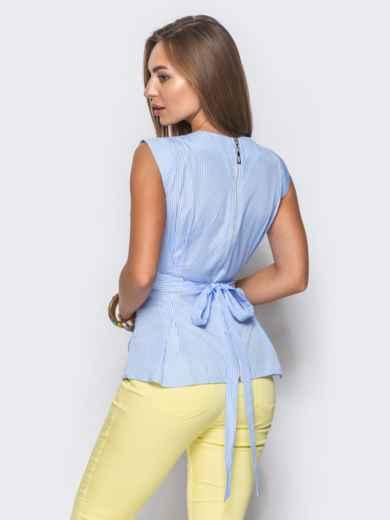 Блузка приталенного силуэта с молнией сзади голубая - 10216, фото 2 – интернет-магазин Dressa