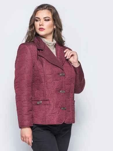 Бордовая куртка на пуговицах с прорезными карманами - 16767, фото 1 – интернет-магазин Dressa