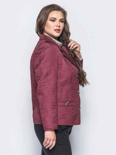 Бордовая куртка на пуговицах с прорезными карманами - 16767, фото 2 – интернет-магазин Dressa