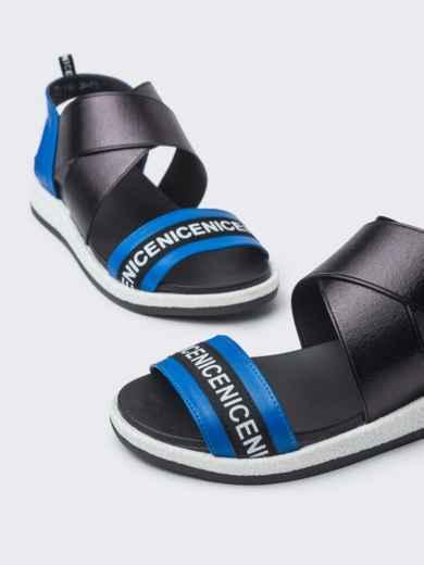 Чёрные босоножки с контрастными вставками - 38998, фото 3 – интернет-магазин Dressa