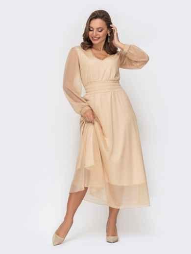 Двухслойное платье бежевого цвета с расклешенной юбкой 52324, фото 1