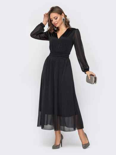 Двухслойное платье черного цвета с расклешенной юбкой 52323, фото 1