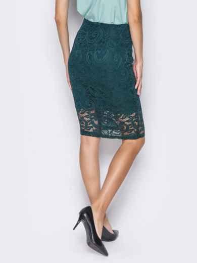 Гипюровая юбка-карандаш с подкладкой зелёная - 14373, фото 3 – интернет-магазин Dressa