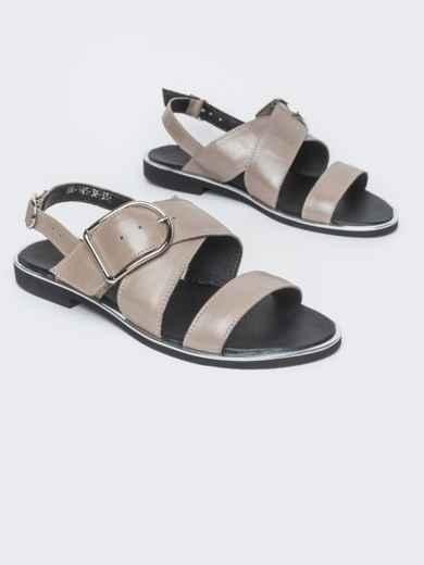 Кожаные босоножки серого цвета - 38997, фото 1 – интернет-магазин Dressa