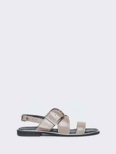 Кожаные босоножки серого цвета - 38997, фото 2 – интернет-магазин Dressa