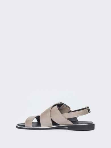 Кожаные босоножки серого цвета - 38997, фото 3 – интернет-магазин Dressa