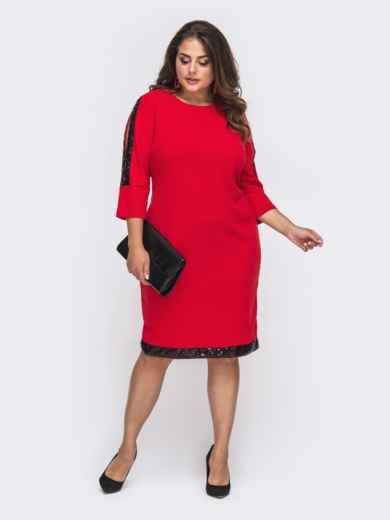Красное платье батал с пайетками и разрезами на рукавах 50744, фото 1