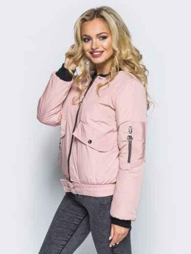 Куртка-бомбер розового цвета с регулируемым поясом-резинкой - 16692, фото 2 – интернет-магазин Dressa